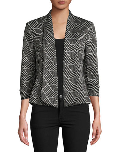 Kasper Suits Metallic Knit Jacquard Flyaway Jacket-BLACK/SILVER-12