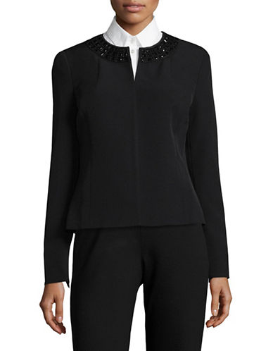Kasper Suits Embellished Flyaway Jacket-BLACK-12