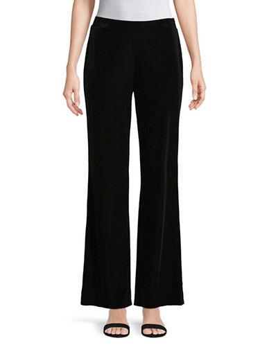 Kasper Suits Velvet Wide-Leg Pants-BLACK-Small