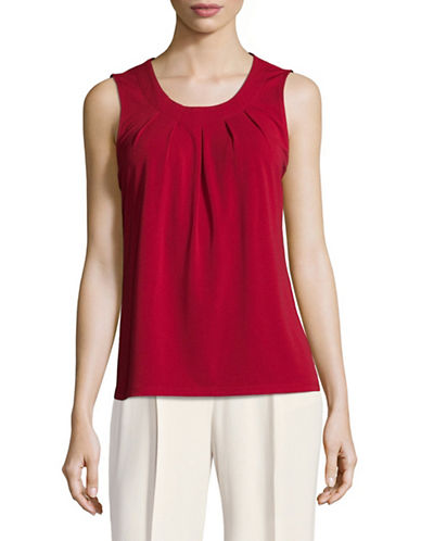 Kasper Suits Pleated Tank Top-RED-Large