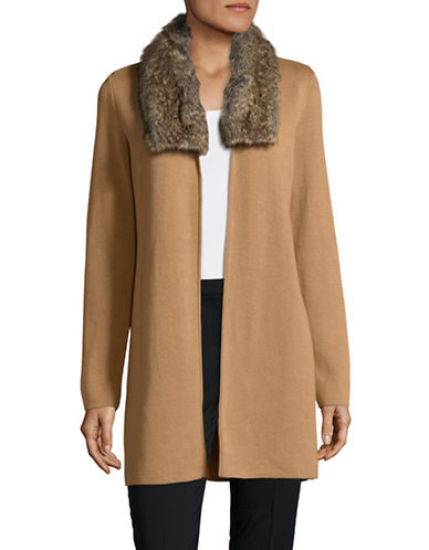 Kasper Suits Faux-Fur Collar Cardigan-BEIGE-X-Large