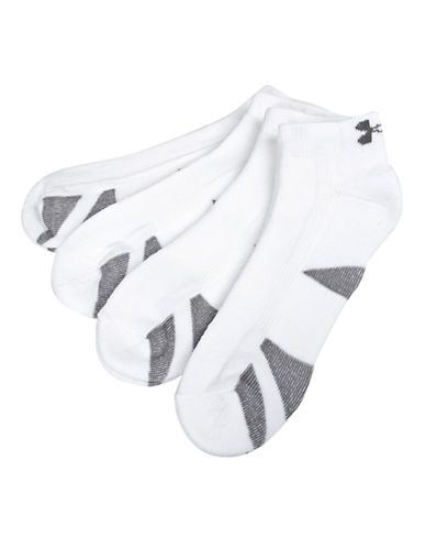 Under Armour Heat Gear Training Low Cut Sock-WHITE-7-12