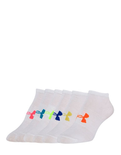 Under Armour Pack of Six Essential No-Show Socks-WHITE ASSORTED-One Size