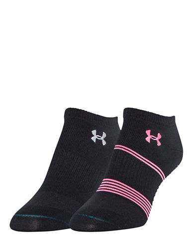 Under Armour Two-Pack Grippy No-Show Socks-BLACK/PINK-One Size