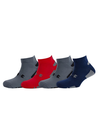 Under Armour Mens 4-Pack Heat Gear Low Cut Training Socks-RED ASSORTED-Large