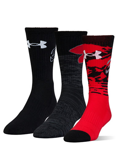 Under Armour Three-Pair Phenom Curry Crew Socks-RED/ASSORTED-Large