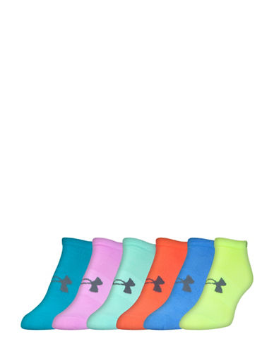 Under Armour Six-Pack Essential No Show Socks-YELLOW-Medium/Large