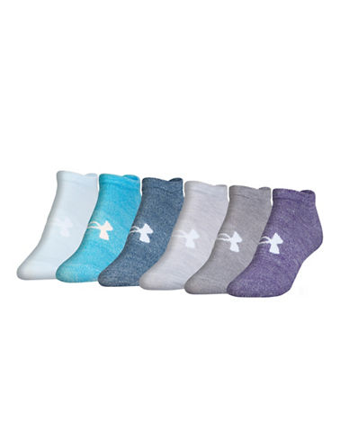 Under Armour Six-Pack Essential No Show Socks-PURPLE-One Size 88939031_PURPLE_One Size