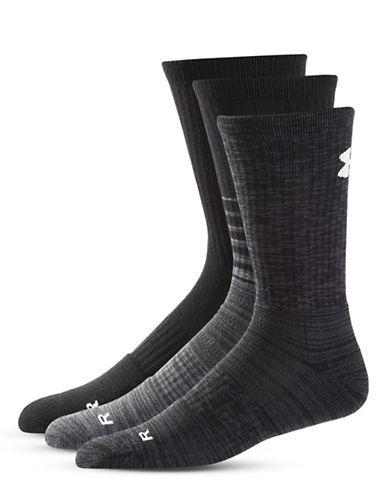 Under Armour Three-Pack Phantom Twisted Socks Set-BLACK-Large