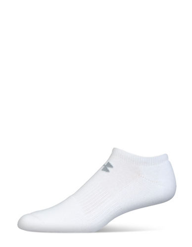 Under Armour Charged Cotton 2.0 No Show Socks-WHITE/GREY-Large
