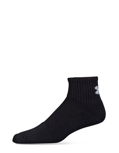 Under Armour Charged Cotton 2.0 Quarter Socks-BLACK/GREY-Large