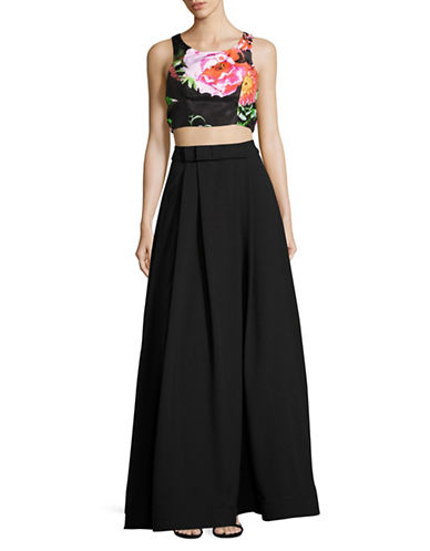 Sequin Hearts Two-Piece Sleeveless Floral Gown-BLACK-7