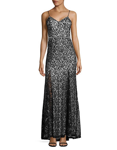 Sequin Hearts Beaded Metallic Lace Sheath Gown-BLACK-7