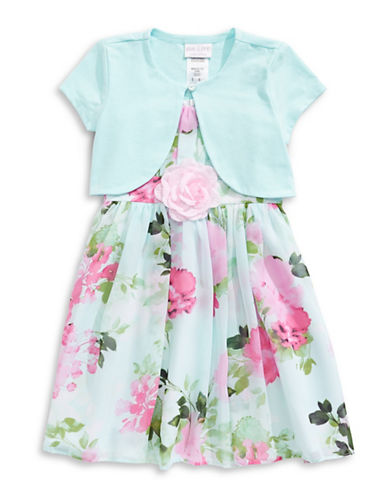 Iris & Ivy Floral Chiffon Dress with Cardigan-PINK-2T