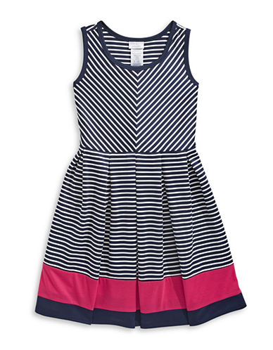 Iris & Ivy Sleeveless Stripe Knit Flare Dress-NAVY-14