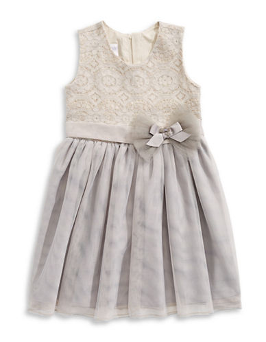 Iris & Ivy Sequined Bonded Lace Dress-GREY-2T