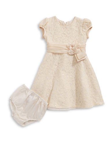Iris & Ivy Lace Fit-and-Flare Dress-BEIGE-18 Months