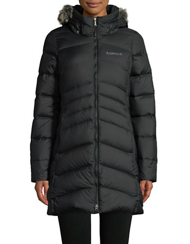 Marmot Faux Fur-Trimmed Down Coat-BLACK-Medium