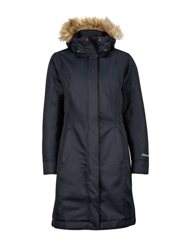 Marmot Chelsea Removable Hood Coat with Faux Fur-BLACK-Medium