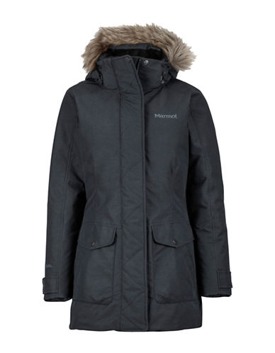 Marmot Geneva Hooded Coat with Faux Fur Trim-BLACK-X-Small
