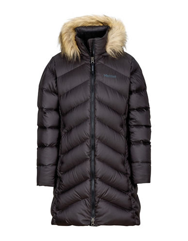 Marmot Girls Montreaux Faux Fur Trim Coat-BLACK-Small