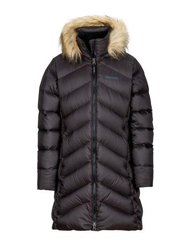 Marmot Girls Montreaux Faux Fur Trim Coat-BLACK-Medium