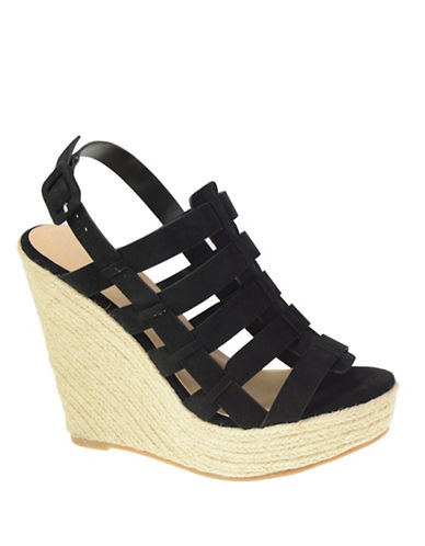 Chinese Laundry Suede Caged Platform Sandals-BLACK-8.5