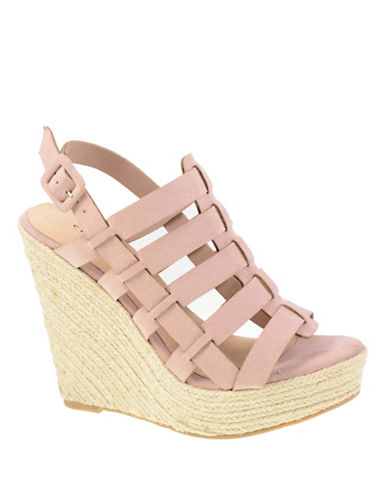 Chinese Laundry Suede Caged Platform Sandals-PINK-8