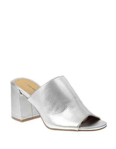Chinese Laundry Metallic Leather Mules-SILVER-7.5
