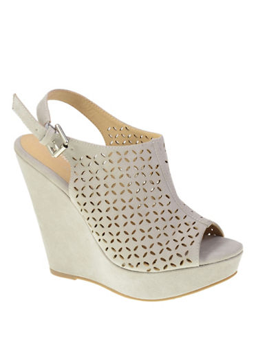 Chinese Laundry Perforated Wedge Sandals-GREY-9.5