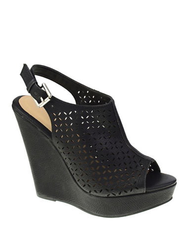 Chinese Laundry Perforated Wedge Sandals-BLACK-8