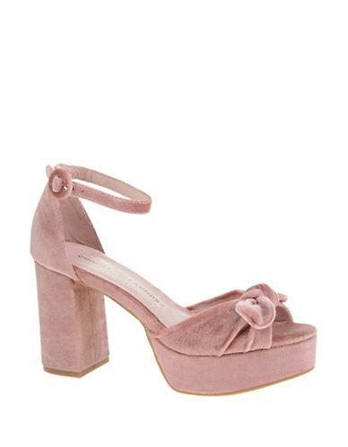 Chinese Laundry Velvet Platform Sandals-PINK-7.5