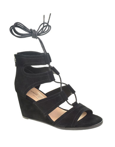 Chinese Laundry Ghillie Wedge Sandals-BLACK-9.5