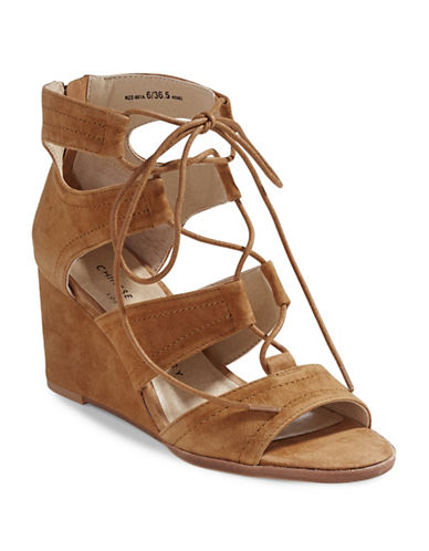 Chinese Laundry Ghillie Wedge Sandals-CARAMEL-9.5