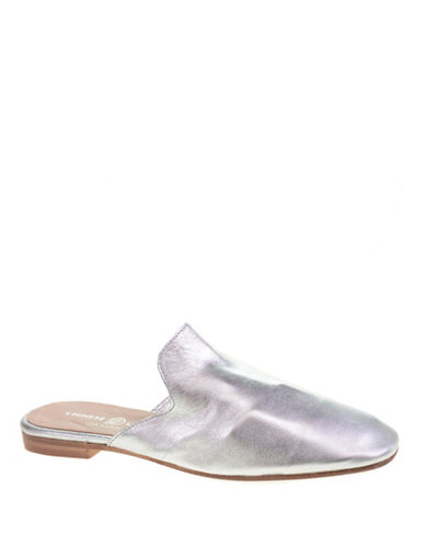 Chinese Laundry Leather Mule Loafers-SILVER-7.5