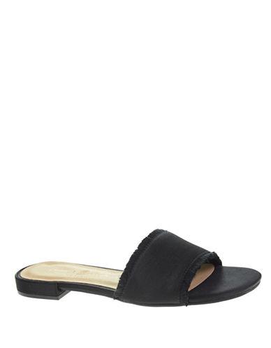 Chinese Laundry Frayed Trim Slide Sandals-BLACK-7
