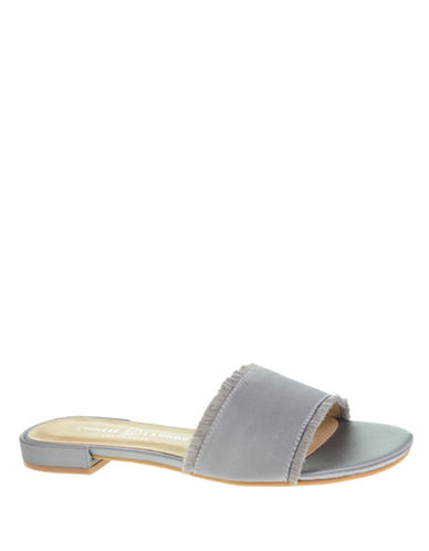 Chinese Laundry Frayed Trim Slide Sandals-SILVER-7.5