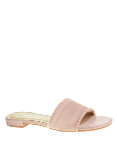 Chinese Laundry Frayed Trim Slide Sandals-NUDE-7