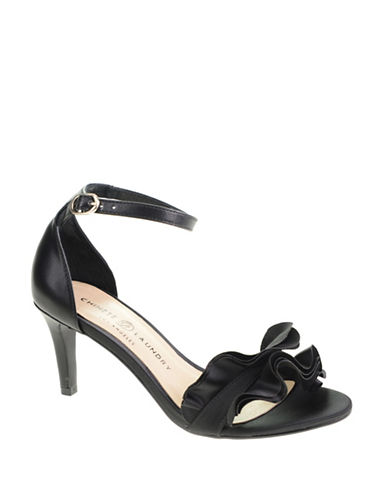 Chinese Laundry Remmy Ruffled Satin Sandals-BLACK-8.5