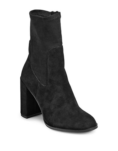 Chinese Laundry Textured Block Heel Booties-BLACK-7.5