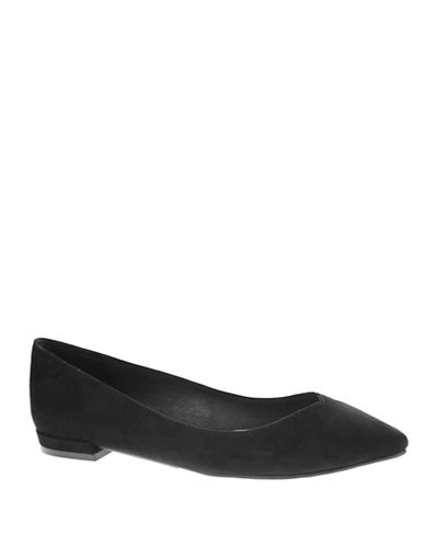 Chinese Laundry Faux Suede Ballet Flats-BLACK-7.5