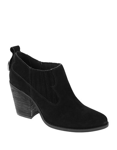 Chinese Laundry Sonoma Block Heel Western Suede Booties-BLACK-8