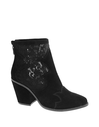 Chinese Laundry Sequined Suede Booties-BLACK-5.5