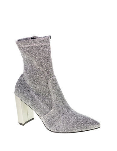 Chinese Laundry Raine Stretch Satin Booties-SILVER-7.5