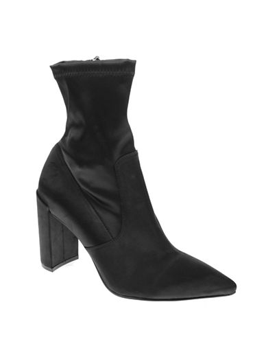 Chinese Laundry Raine Stretch Satin Booties-BLACK-7.5