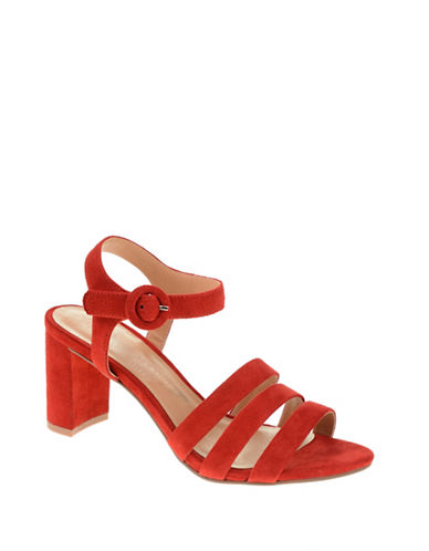 Chinese Laundry Ryden Suede Ankle-Strap Sandals-HOT RED-8.5