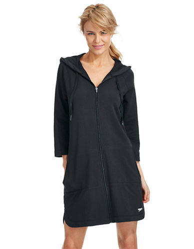 Speedo Aquatic Fitness Hooded Robe-BLACK-Large