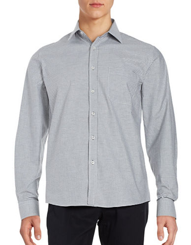 Black Brown 1826 Checked Button Front Sport Shirt-GREY-Large