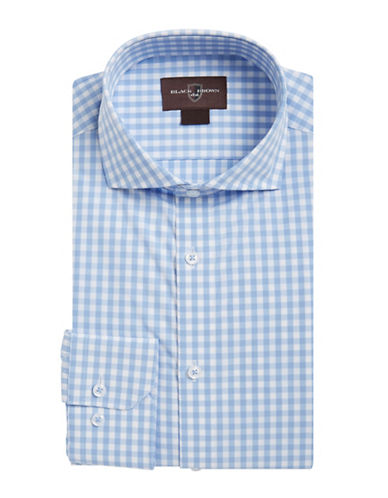 Black Brown 1826 Gingham Sport Shirt-COASTAL BLUE-XX-Large