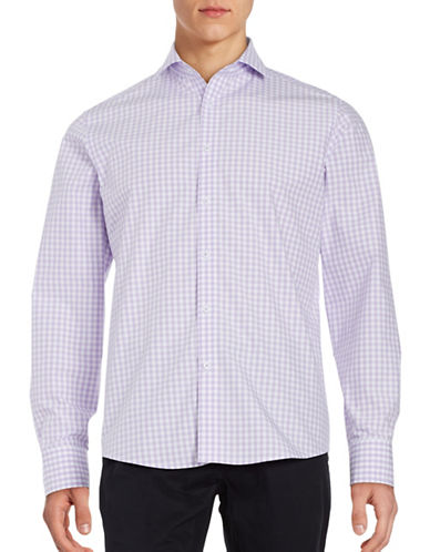 Black Brown 1826 Gingham Sport Shirt-VIOLET-Large